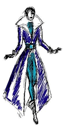 the top model: Sketch fashion model girl.