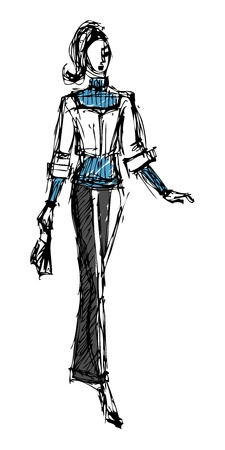 Sketch fashion model girl.