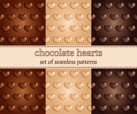 chocolate background: set of seamless pattern with chocolate hearts