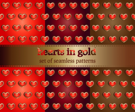 set of seamless pattern with hearts in gold - vector illustration Stock Vector - 17016997