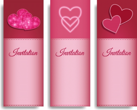 vector hearts: invitation pink cards with hearts - vector illustration