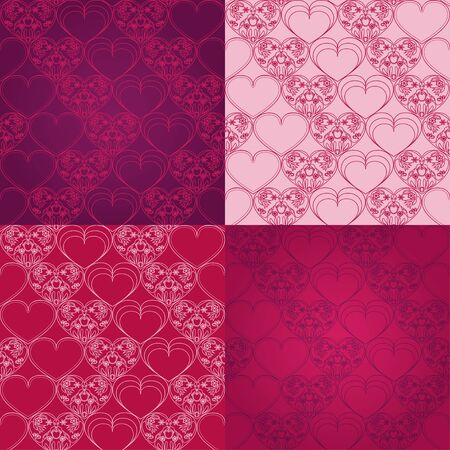 set seamless patterns with hearts - vector illustration Stock Vector - 17181432
