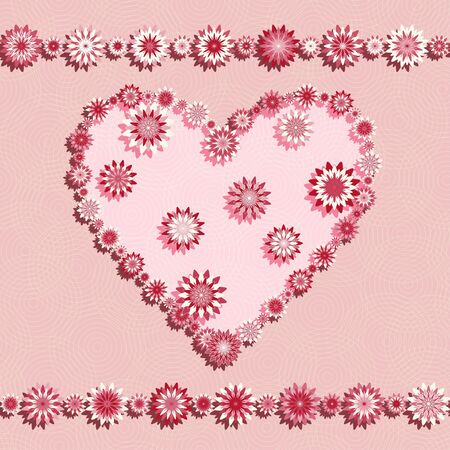 Pink seamless pattern with flowers heart  Vector