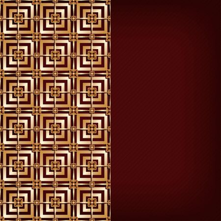 gold brown: Brown background with gold pattern - vector illustration