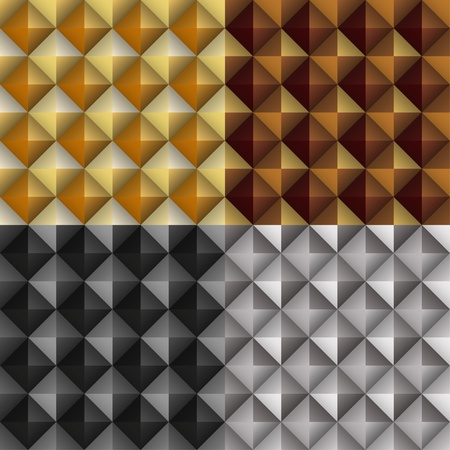 Geometric metallic seamless patterns set - vector illustration