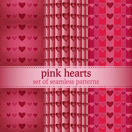 set of seamless patterns with pink hearts - vector illustration Stock Vector - 17453249