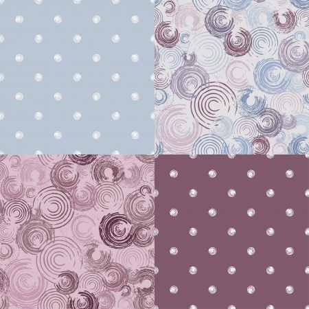 set seamless patterns with circles illustration Illustration