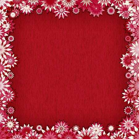 Red background with border of pink flowers - vector illustration Vector