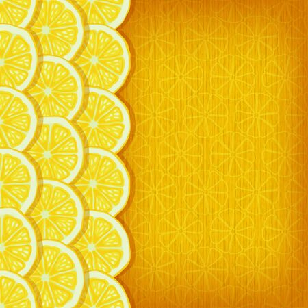 yellow background with lemon slices - vector illustration Illustration
