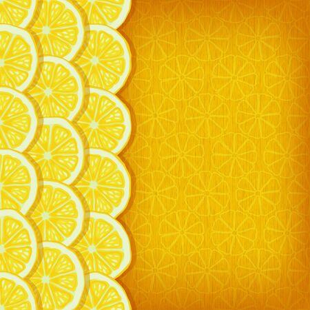 fondo amarillo, rodajas de limón - ilustración vectorial