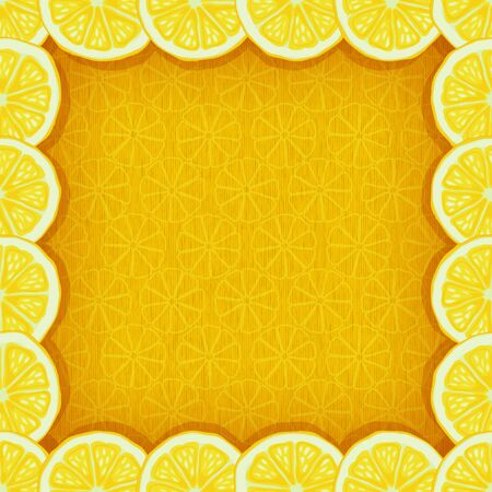 yellow background with border of lemon slices - vector illustration Stock Vector - 17698804