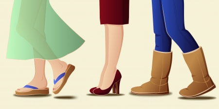 female legs in seasonal footwear - vector illustration Vector