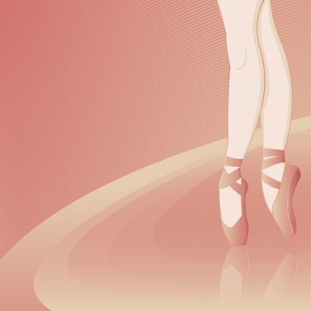 classical dancer: Pink background with the ballerina - vector illustration