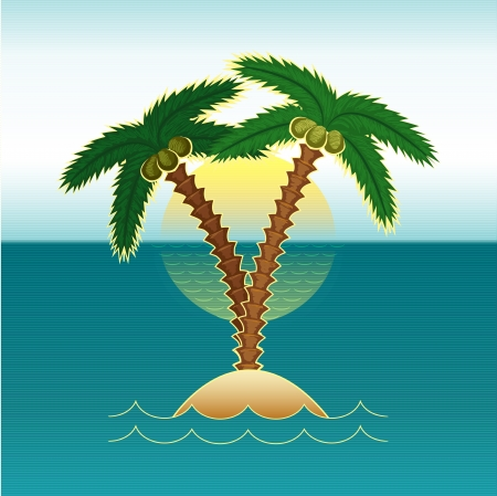tropical beach panoramic: palm tree in the sea at sunset - vector illustration