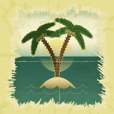 tropical beach panoramic: Vintage card  Palm tree in the sea at sunset - vector illustration