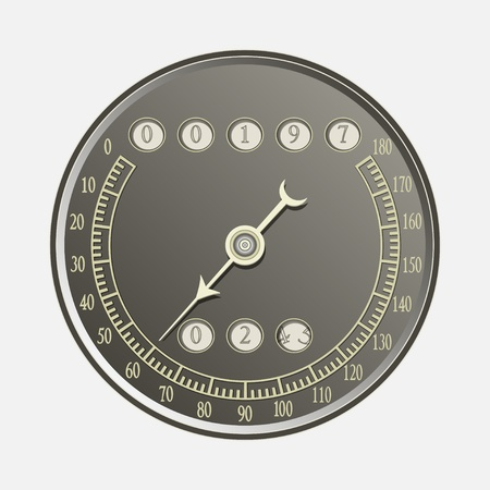 kilometer: Speedometer in retro style - vector illustration