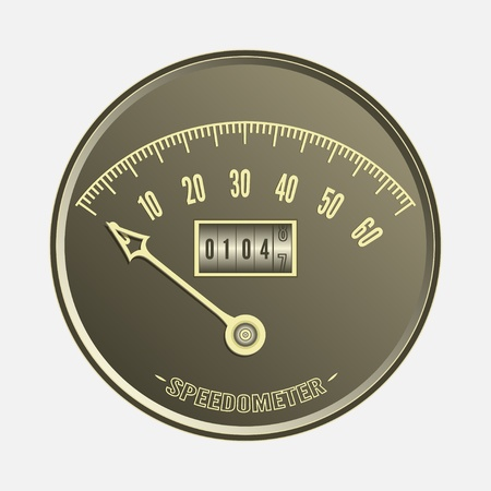 Speedometer in retro style - vector illustration Stock Vector - 18372012