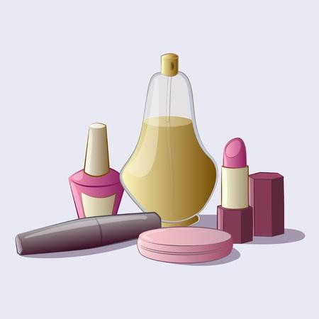 makeup products: Cosmetics set  mascara, powder, nail polish, perfume, lipstick - vector illustration Illustration