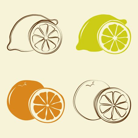 lemon: lemon and orange icons - vector illustration