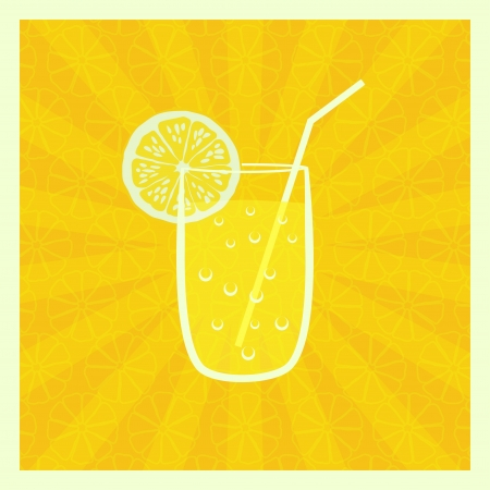 summer diet: background with  juice in glass - illustration