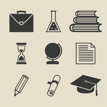 Education icons set - illustration