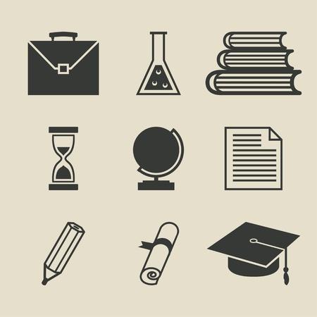 web cap: Education icons set - illustration