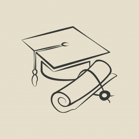 Graduation cap and diploma - illustration Vector