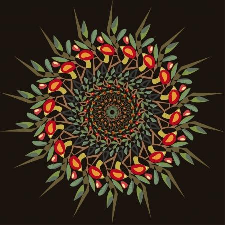 appletree: abstract circular pattern apple-tree - illustration Illustration