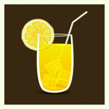 lemonade: drink in glass with straw - illustration