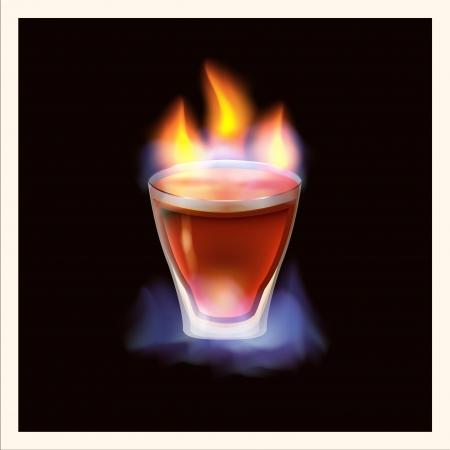 ajenjo: Burning bebida - ilustración Vectores