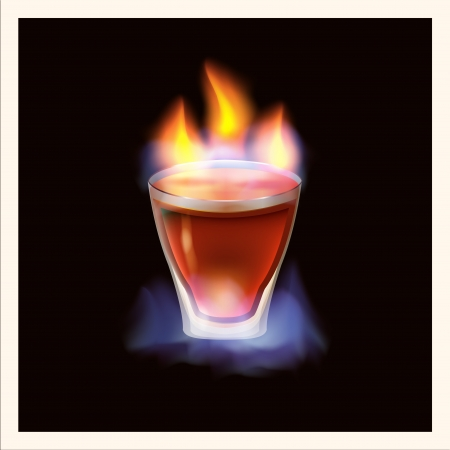 Burning drink - illustration Vector