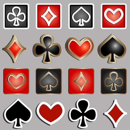 set of icons with card suits - vector illustration