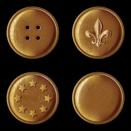 set of vintage bronze buttons - vector illustration