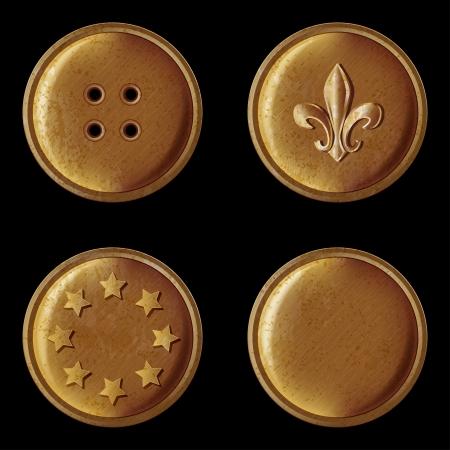 set of vintage bronze buttons - vector illustration