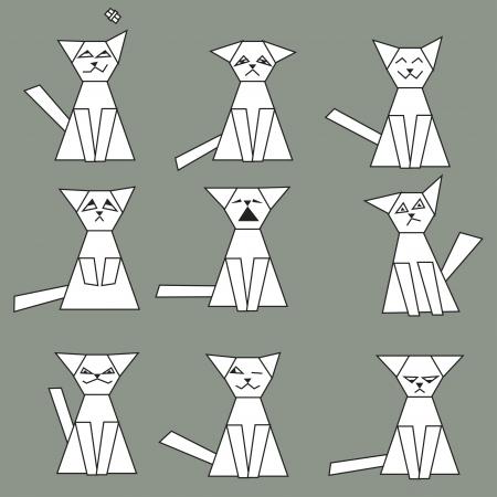 Set of funny geometric cats - vector illustration Vector
