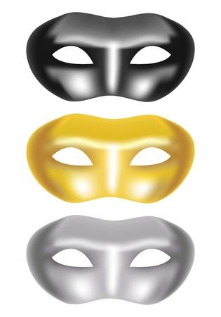 masquerade party: set of masks on a white background - vector illustration Illustration