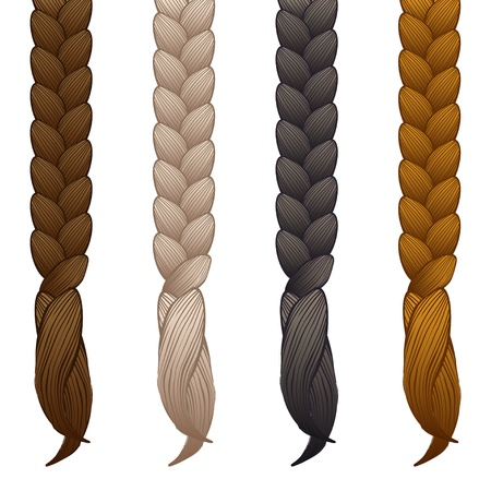 hair style set: braids isolated on white background - vector illustration