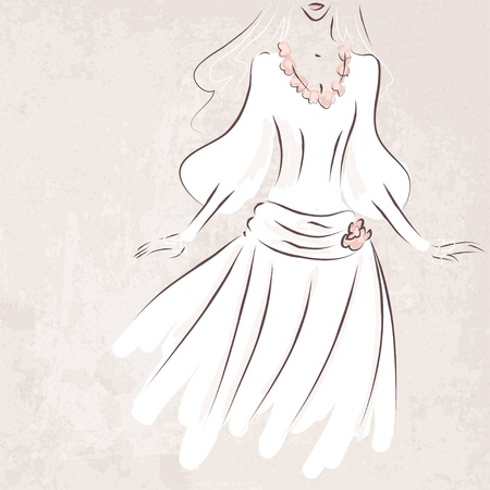 sketch bride in wedding dress on grungy background - vector illustration Vector