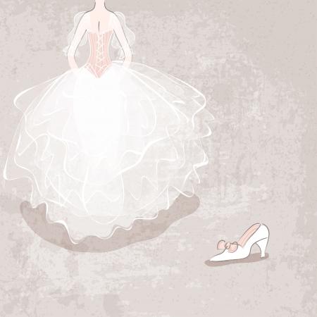 ベクトル イラスト - 汚い背景にウェディング ドレスの花嫁をスケッチします。 写真素材 - 21014954