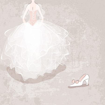 cinderella shoes: sketch bride in wedding dress on grungy background - vector illustration Illustration