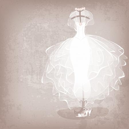 汚れた背景 - ベクター グラフィックの花嫁ドレス