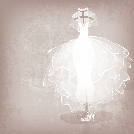 bride veil: bride dress on grungy background - vector illustration Illustration