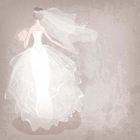 dress sketch: bride in wedding dress on grungy background - vector illustration