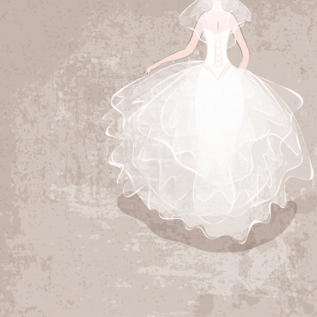 bride in wedding dress on grungy background - vector illustration Vector