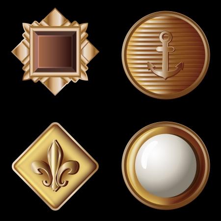 set of vintage gold buttons - vector illustration Vector