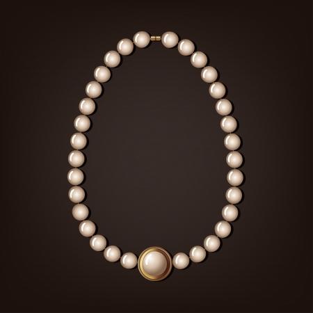 真珠のネックレス - ベクトル イラスト