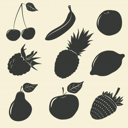 Fruits and berries icons - vector illustration