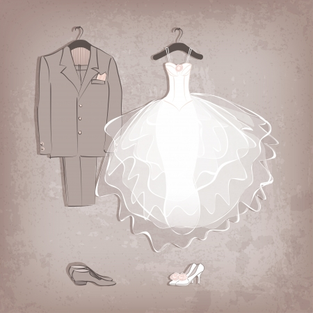 wedding card design: bride dress and groom