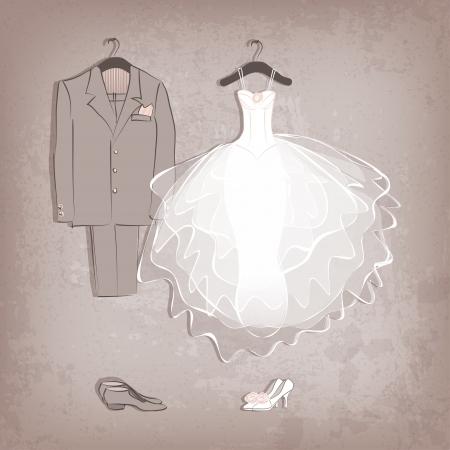 bruid jurk en bruidegom Vector Illustratie