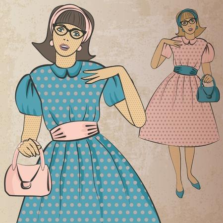 pink dress: girl with handbag in retro style - vector illustration Illustration